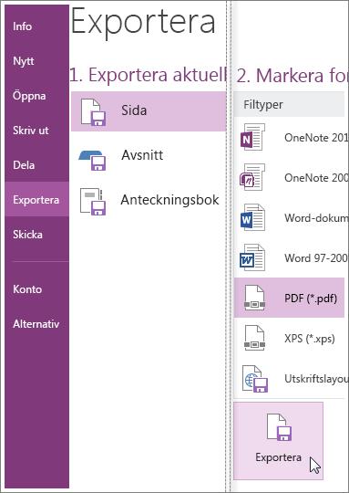 Det går även att exportera anteckningar i andra format, t.ex. PDF, XPS eller Word-dokument.