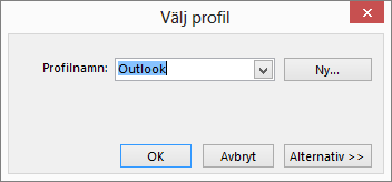 Dialogrutan Välj profil