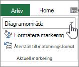Aktuella markeringsområde med element markering markerat