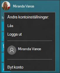 Bild av menyn som visas när du väljer profilbild