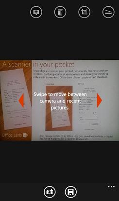 bild på hur man sveper för att visa bilder i Office Lens