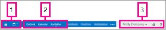 Navigeringsfältet i Outlook Web App
