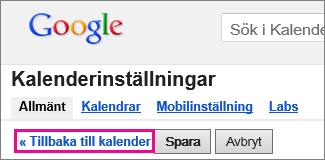 google calendar – klicka på gå tillbaka till kalender