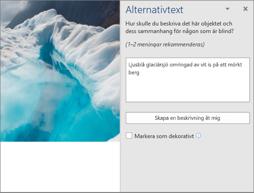 Den nya dialogrutan Alternativtext med automatiskt genererad alternativtext i Word