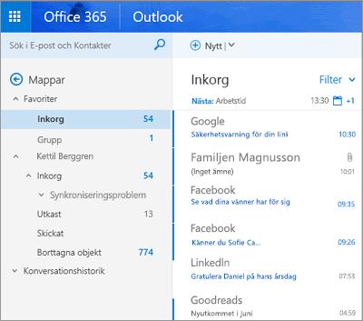Huvudvyn för Outlook på webben