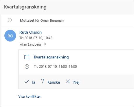 En skärmbild av en mötesinbjudan skickas till ett ombud