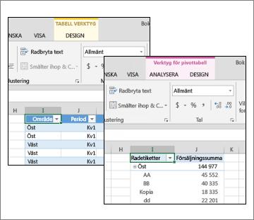 Tabellverktyg och Verktyg för pivottabell