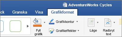En SVG-bild markerad, aktiverar fliken grafiskt Format i menyfliksområdet