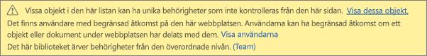Bilden visar meddelandet för unika behörigheter för en lista eller ett bibliotek