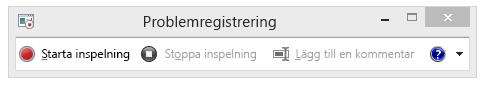 En skärmbild av Problemregistrering eller PSR.exe.