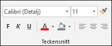 Tillgängliga kommandon i gruppen med Access-teckensnitt