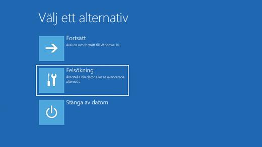 Skärmen Välj ett alternativ i Windows Återställningsmiljö.