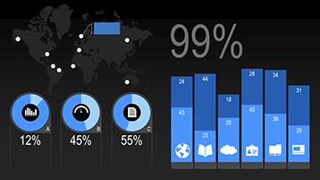 Diagramtyper i en animerad PowerPoint-exempelmall för infografik och statistik