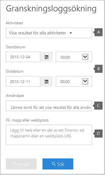Konfigurera villkor och kör rapporten genom att klicka på Sök