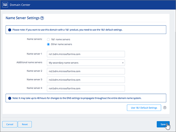 Klicka på Spara på sidan för Name Server Settings