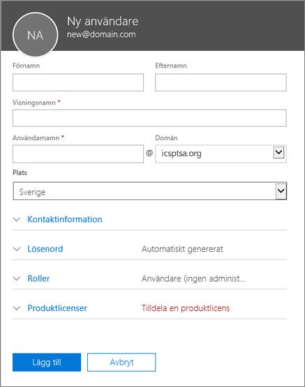 Skärmbild: De här fälten ska du fylla i när du lägger till en användare i Office 365 för företag