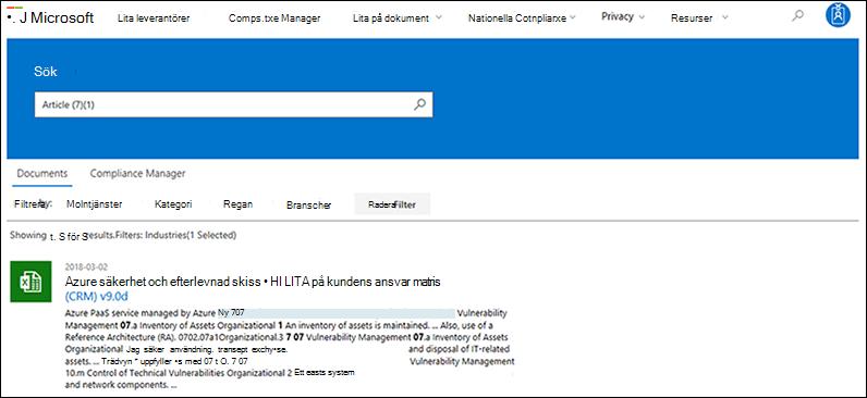 Lita leverantörer - sökning efter dokument med tillämpat filter