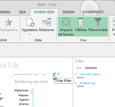 Filterikonen visas när du hovrar över en Power View-visualisering