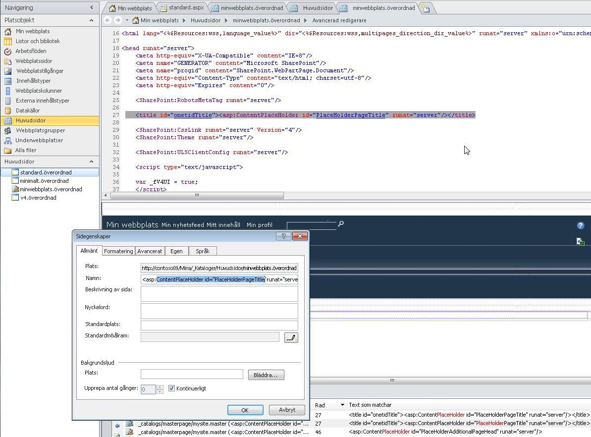 När du öppnar huvudsidan för Min webbplats kan du redigera både filen och filegenskaperna.