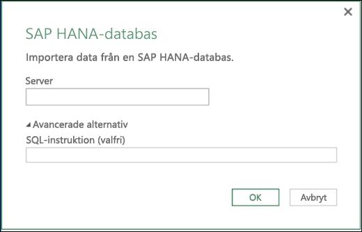 Excel Power BI – Dialogrutan SAP HANA-databasimport