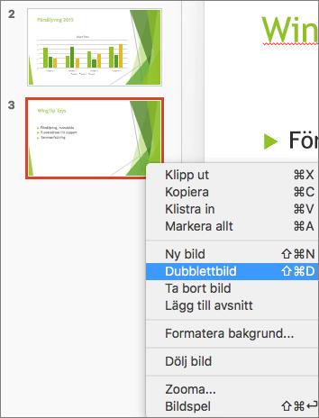 Skärmbild som visar en markerad bild och alternativet Dubblettbild markerat på snabbmenyn.