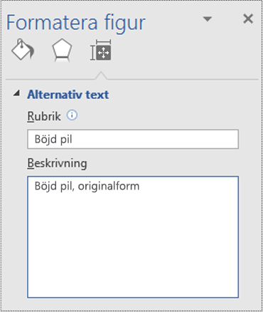 Dialogrutan Alternativtext för en originalform i Visio.