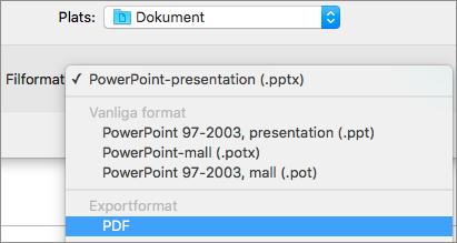 PDF-alternativet i listan Filformat i dialogrutan Spara som i PowerPoint 2016 för Mac.