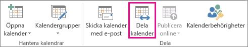 Knappen Dela kalendrar på Start-fliken i Outlook 2013