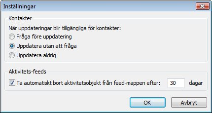 Dialogrutan Inställningar i Outlook Social Connector