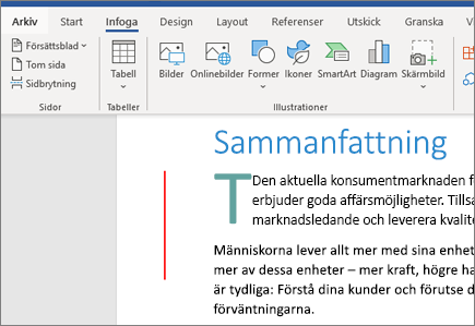 Bilder, SmartArt, diagram i Word i Office 365