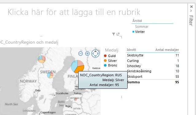 Utsnitt, tabeller och kartor är interaktiva i Power View