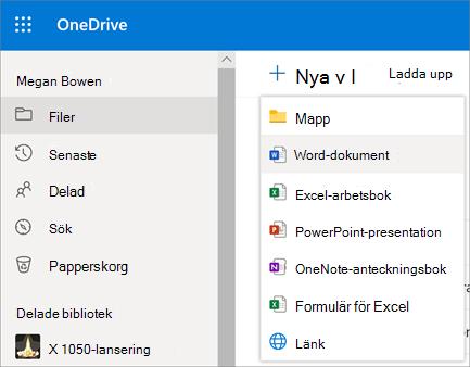 Ny fil- eller mappmeny i OneDrive för företag