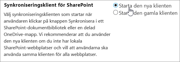 Administrationsinställning för OneDrive-synkroniseringsklienten