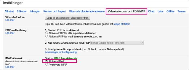 Välj Vidarebefordra och POP/IMAP i Gmail för att välja POP-inställningar.