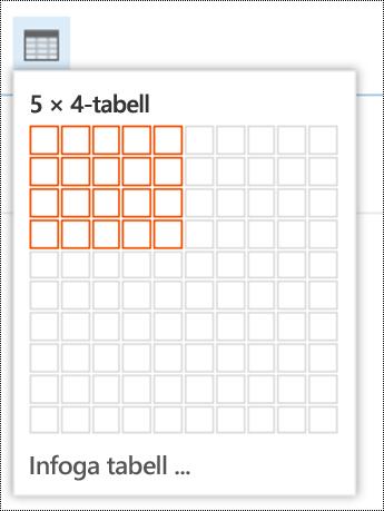 Lägg till en enkel tabell i Outlook på webben.