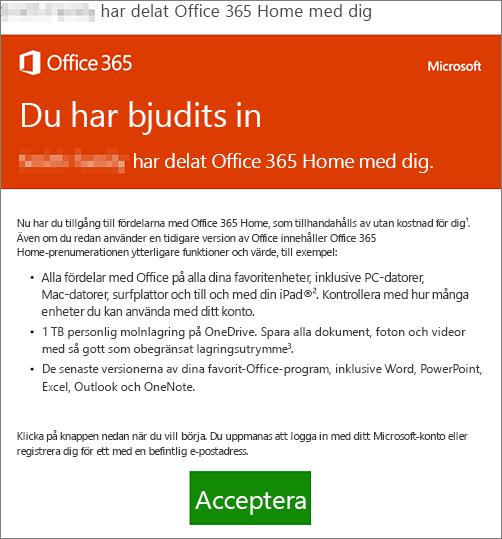 E-postmeddelande om att någon har delat Office 365 Home med dig
