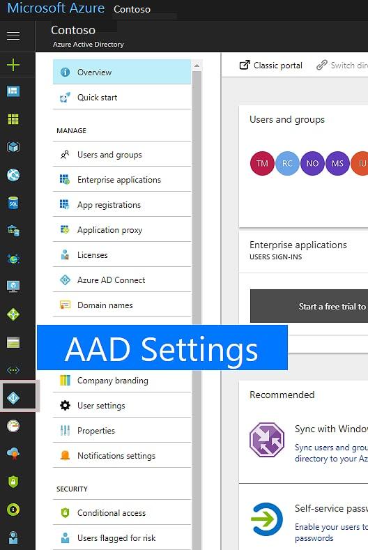 Azure Active Directory-inställningsikonen till vänster