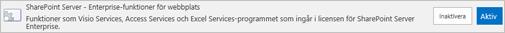 Aktivera SharePoint Server Enterprise-webbplats