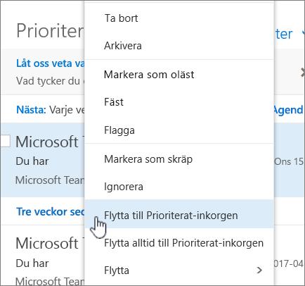 Skärmbild av Inkorgen med Filter > Visa Prioriterad inkorg markerat.