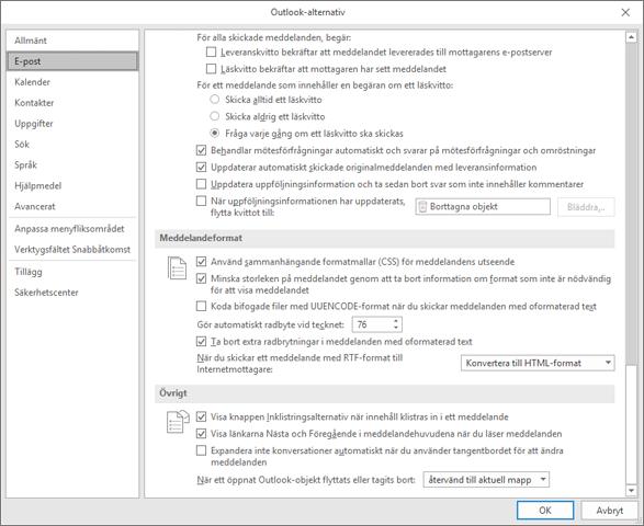 Sidan Med Outlook-alternativ med e-postkategorin markerad