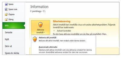 Delen Säkerhetsvarning när en fil inte är betrodd