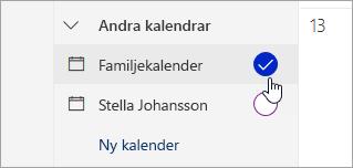 En skärmbild av familj kalender i den vänstra rutan