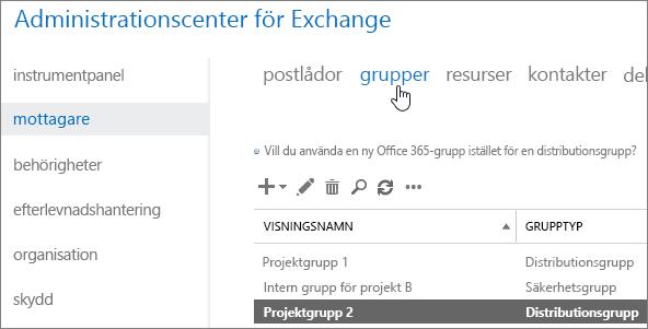 Söka efter grupper i administrationscentret för Exchange