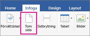 Alternativet Tom sida är markerat på fliken Infoga