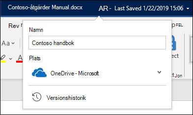 Den nedrullningsbara menyn från dokumentrubriken i Word för Office 365