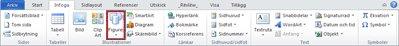 Fliken Infoga med Figurer markerade, i Word 2010.