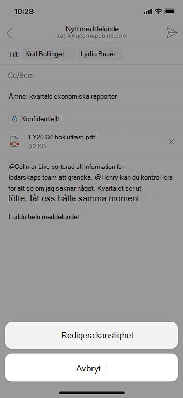 Redigera känslighet i Outlook Mobile