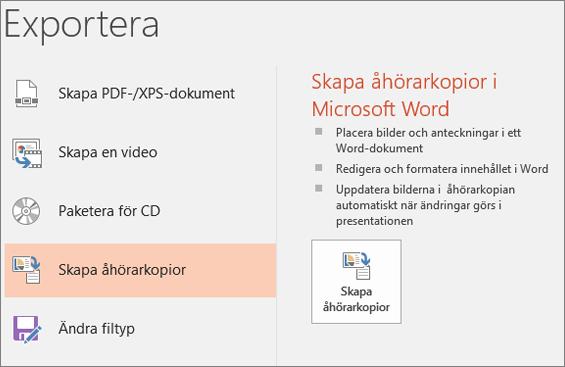 Skärmurklipp från PowerPoint-användargränssnittet som visar Arkiv > Exportera > Skapa åhörarkopior.