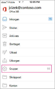 Grupper är en nod i mapplistan i Outlook mobile