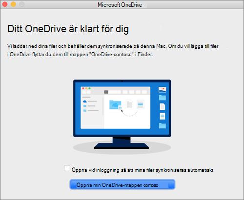 Skärmbild av den sista skärmen i guiden Välkommen till OneDrive på en Mac